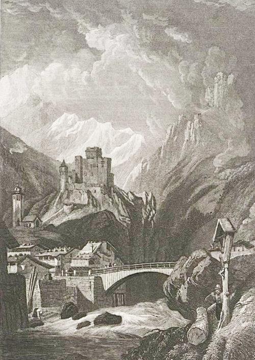 Historische Abbildung Schloss Landeck