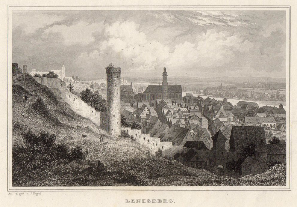 Gesamtansicht Landsberg 1843