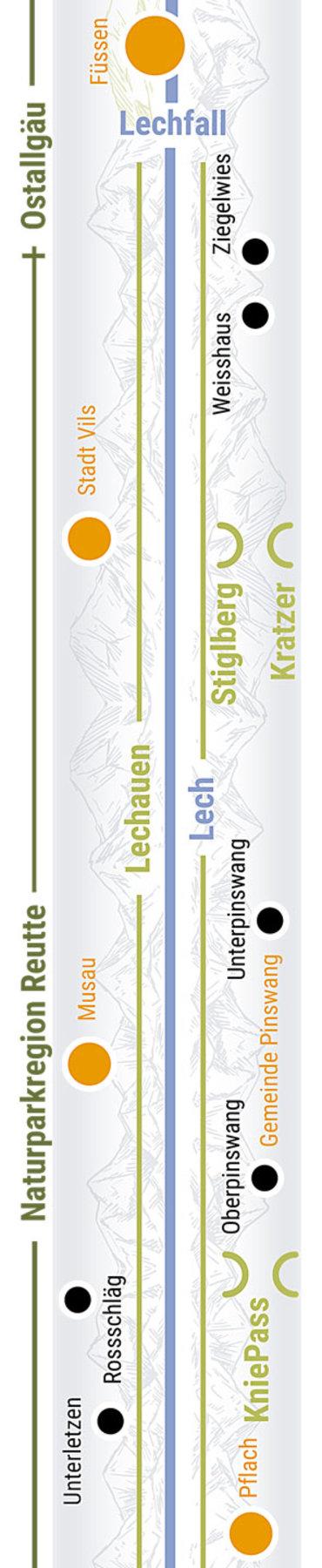 Übersichtskarte rechts Teilabschnitt 10 Lechauen