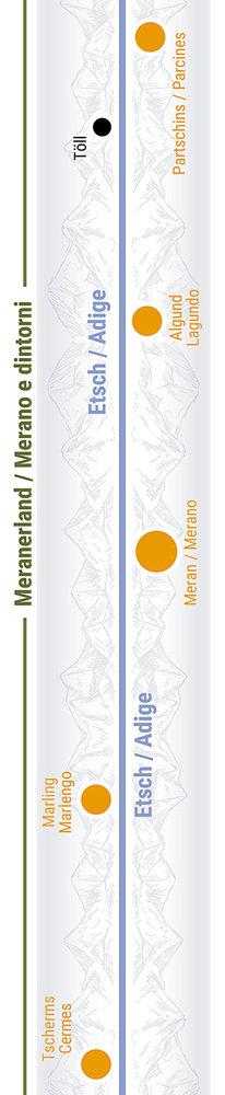 Übersichtskarte rechts Teilabschnitt 25 Algund, Meran, Marling