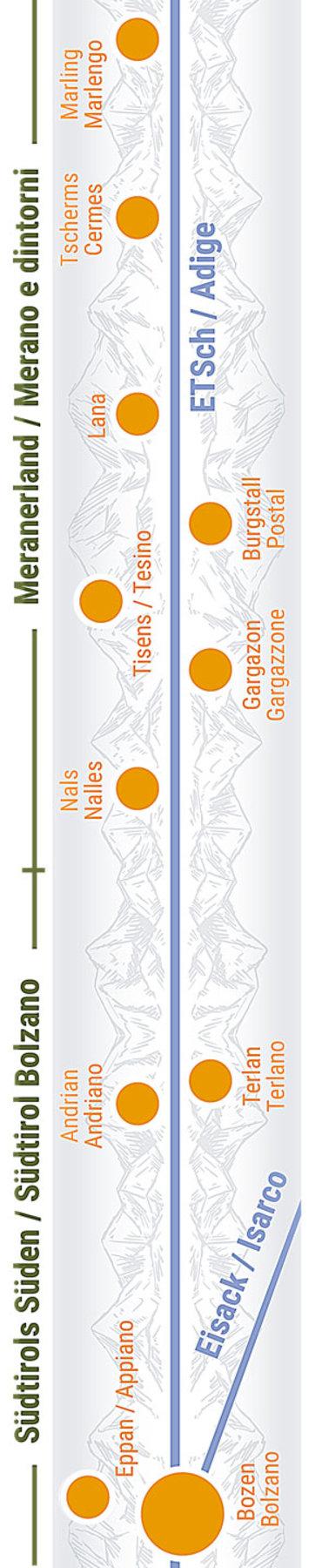 Übersichtskarte rechts Teilabschnitt 26 Meran, Bozen