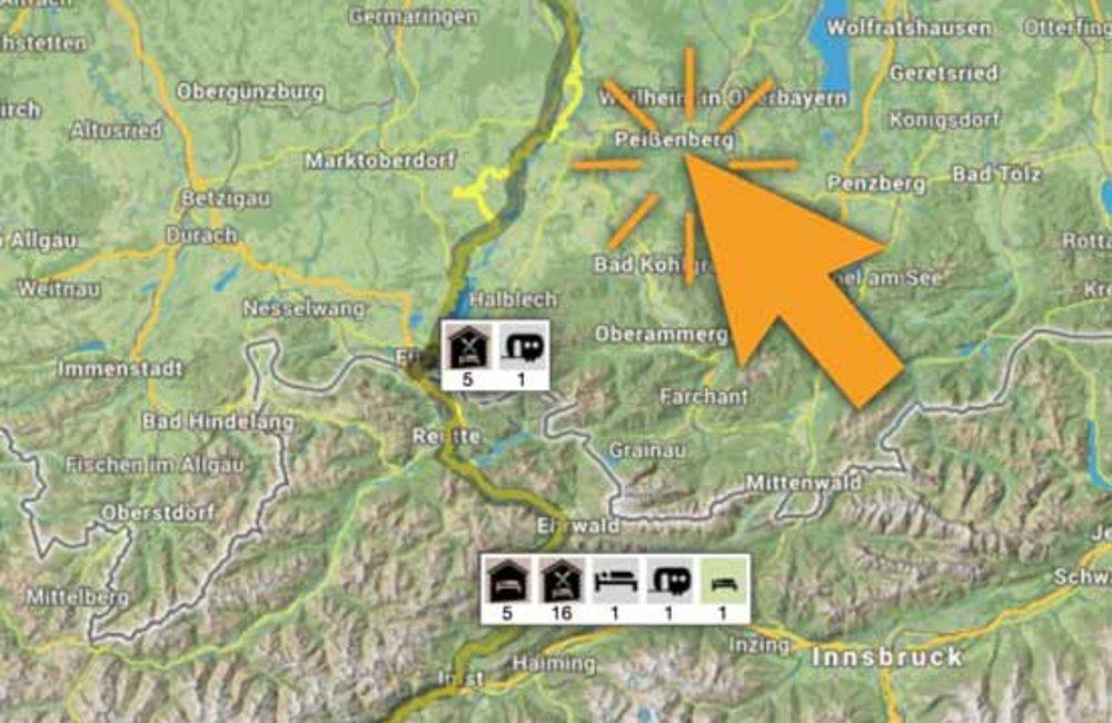 Wanderroute, Gastgeber, historische interaktive Karte mit Symbolen