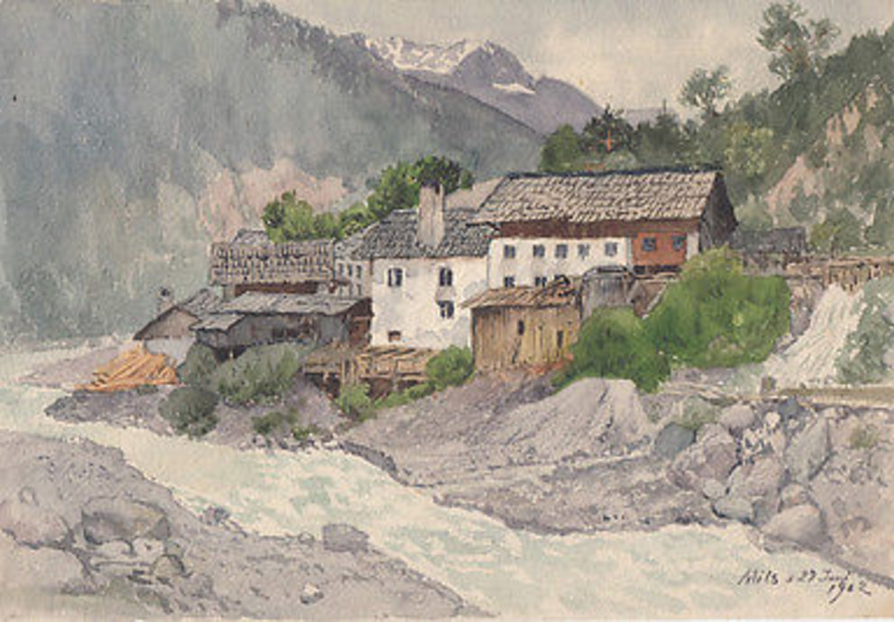 Gehöfte am Inn, Original Aquarell 1902, Österreich
