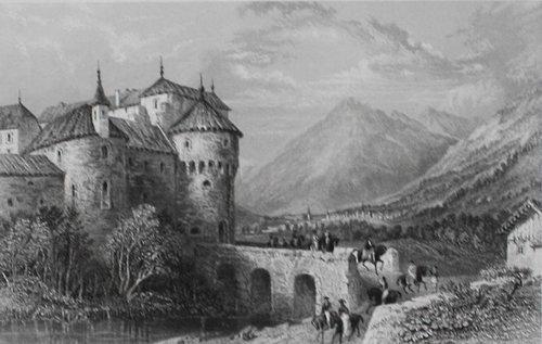 Stahlstich Schloss Schenna