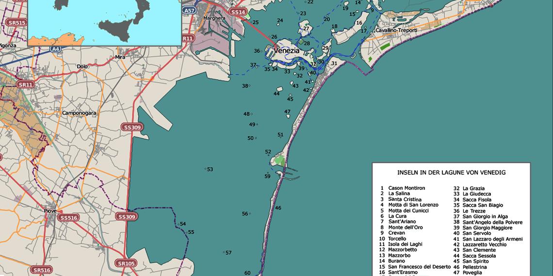 Karte Venedig Lagune