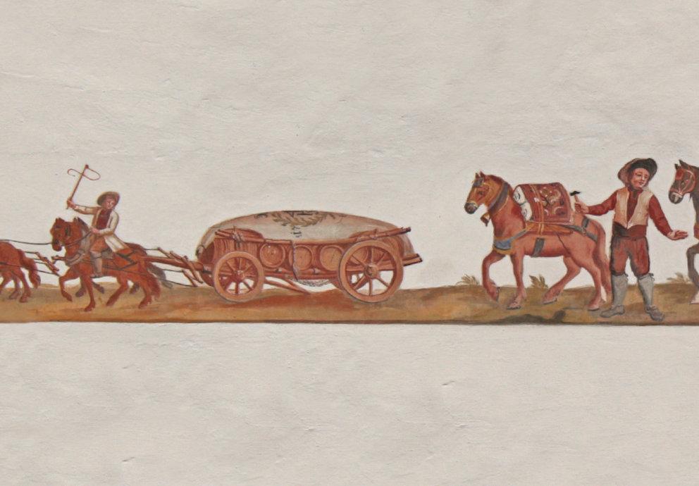 Bild mit Pferdegespann