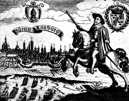 Gustav II. Adolf vor den Mauern in Augsburg im Jahre 1632