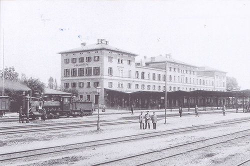 Bahnhof in Donauwörth 1895, Foto Frei