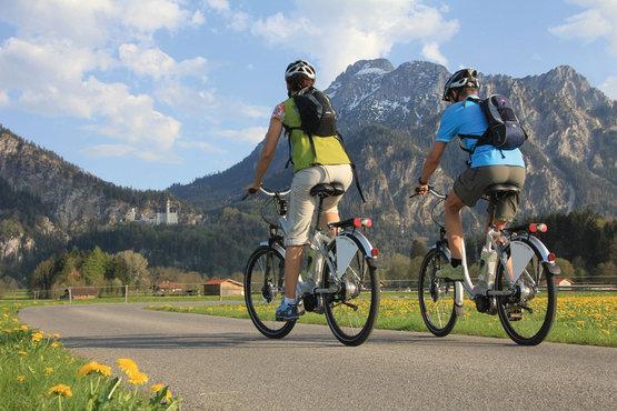 Radfahrer Vor Den Alpen