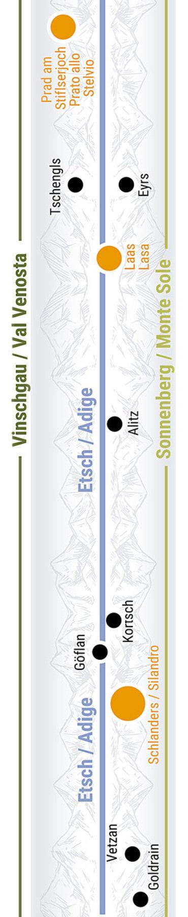 Übersichtskarte rechts Teilabschnitt 22 Schlanders Laas