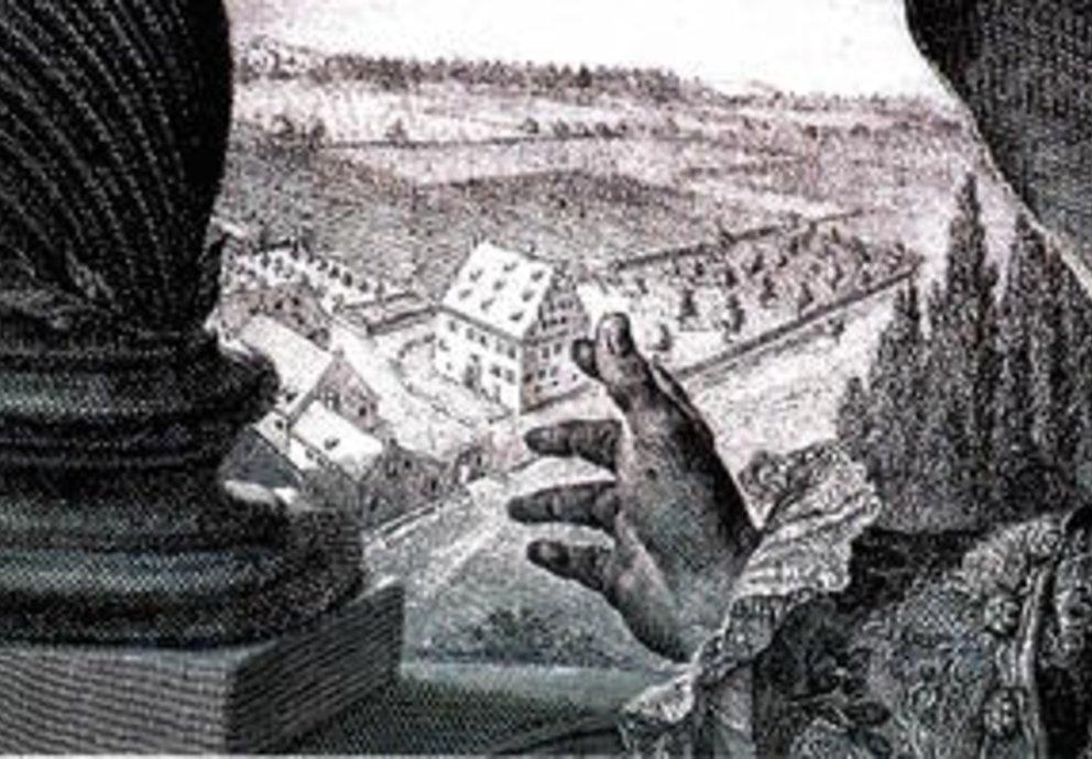 Historischer Blick auf Schloss Meitingen