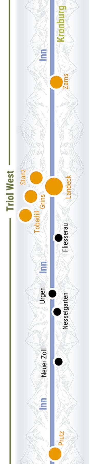 Übersichtskarte rechts Teilabschnitt 18 Tirol West