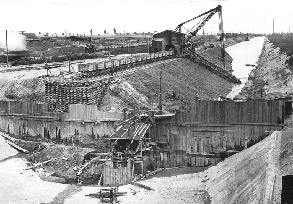 Bau des Wasserkraftwerk Meitingen, Inbetriebnahme 1922, Foto LEW Archiv