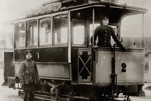 Pferdestraßenbahn Augsburg 1897, Foto Sammlung Franz Häussler
