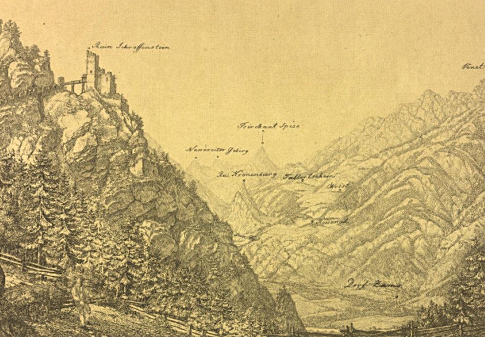 alte Zeichnung von Schrofenstein