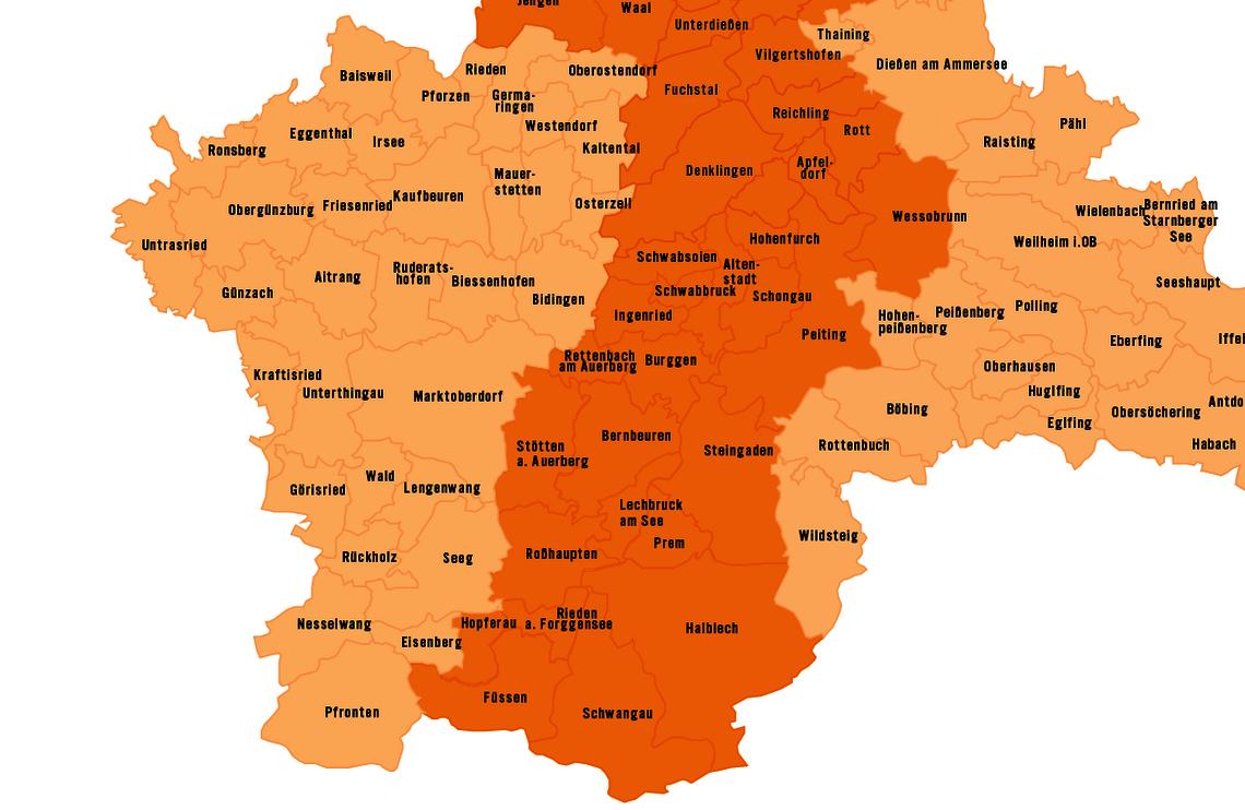 Kartenausschnitt Bayern