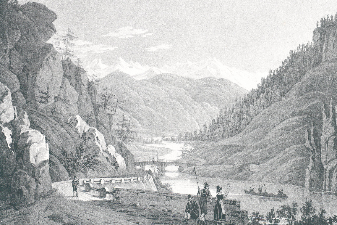 Zeichnung Straße und Pontlatz Brücke von Norden gesehen