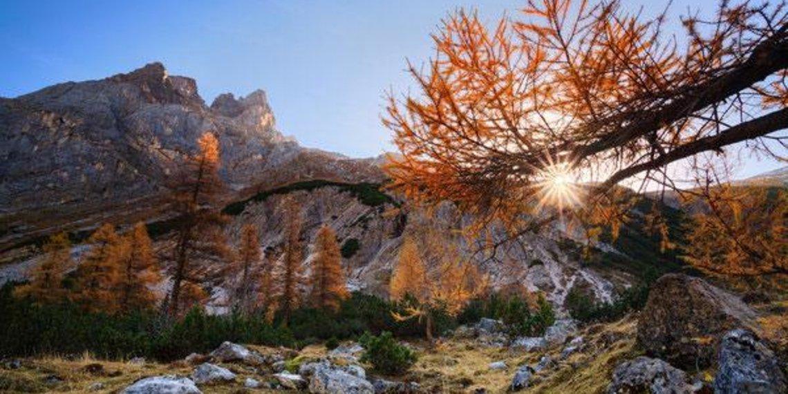Herbst, berge, Alpenglühen