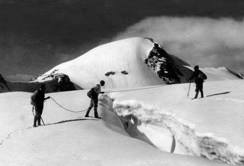 Gletscherspalte Alpin Touristen