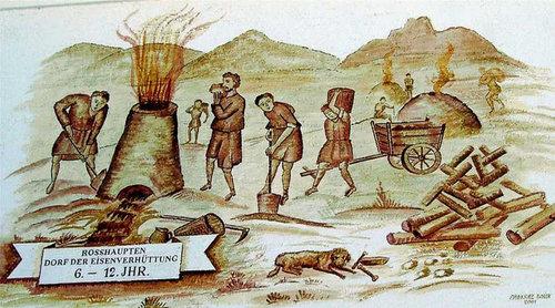 Eisenverhüttung im Mittelalter, Foto Rosshaupten