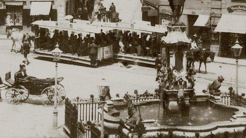 Pferdestraßenbahn Hermannstraße Hotel kaiserhof in Augsburg 1897, Foto Sammlung Franz Häussler