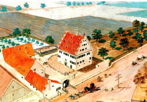 Zeichnung Areal Schloss Meitingen mit Kutsche