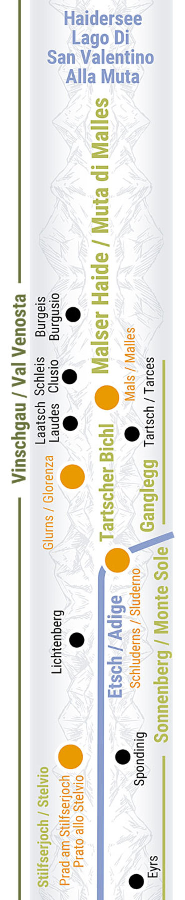 Übersichtskarte rechts Teilabschnitt 21 Oberer Vinschgau