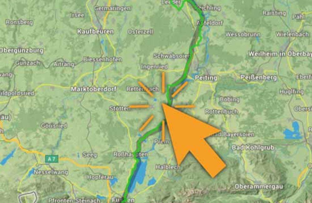 Radroute, historische interaktive Karte mit Symbolen