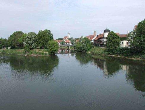 Donauspitz, Mündung, Wörnitz, in die Donau, Donauwörth, Via Claudia Augusta, Bayern, Foto Donauwörth