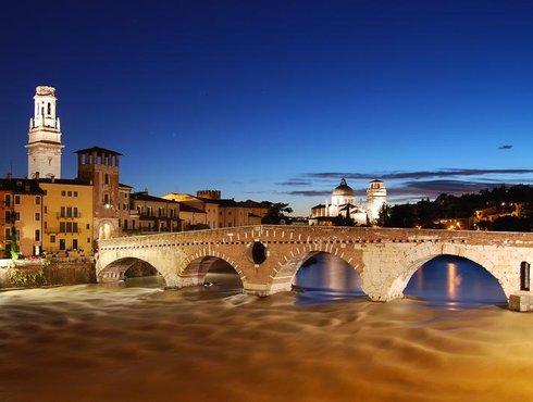 Verona Ponte Pietra Sunset