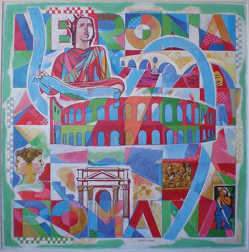 """""""Verona Romana"""" von Luciano Padovani, ein Werk der Wanderausstellung """"Incontri D'Arte"""" entlang der Via Claudia Augusta"""
