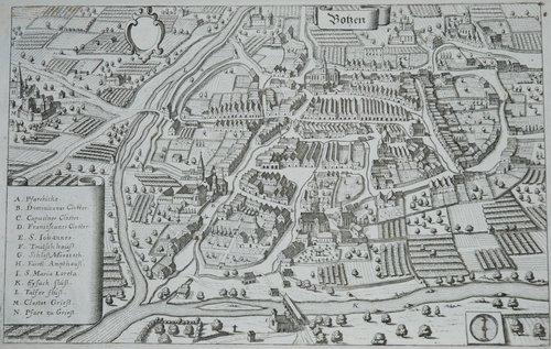 Bozen, Botzen Kupferstich, Matthäus Merian, 1649