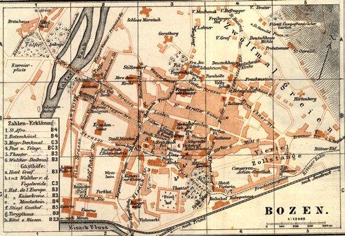 Stadtplan von Bozen aus Geuters Reiseführer, 1914