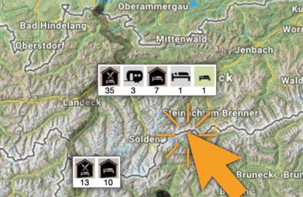 historische interaktive Karte mit Symbol von Gastgebern