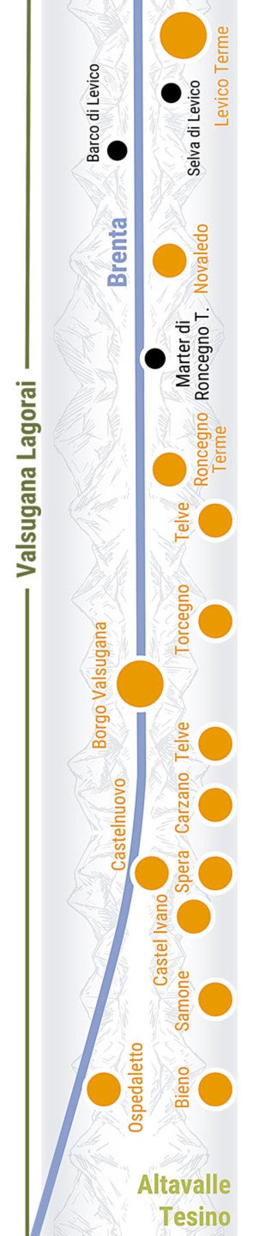 Übersichtskarte rechts Teilabschnitt 33a Mittlere Valsugana