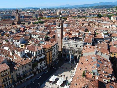 Verona piazza Erbe from Lamberti