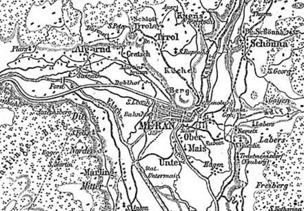 Karte Umgebung Meran 1888