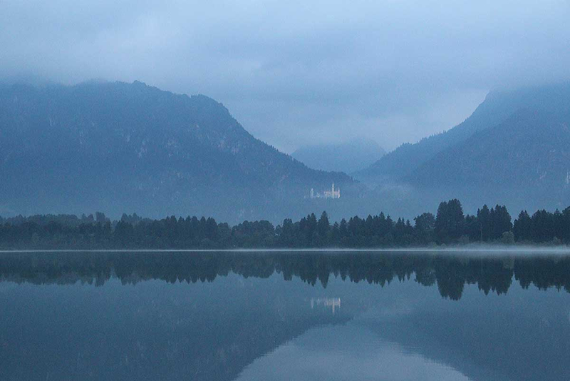 Füssen Abenstimmung Forggensee Neuschwanstein vom Festapielhaus